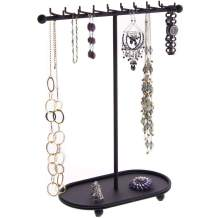 Angelynn's Necklace Holder Jewelry Organizer Display Case Stand Hanging Large Big Long Necklace Pendant Tall Storage Rack, Gianna Black