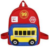 Lekesky Toddler Backpack for Kids Boys Cute Little School Backpack for Kindergarten and Preschool, Red and Blue Bus