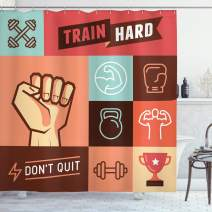 """Ambesonne Fitness Shower Curtain, Gym Crossfit Trainings Achievement Victory Strength Determination Don't Quit Phrase, Cloth Fabric Bathroom Decor Set with Hooks, 70"""" Long, Coral Orange"""