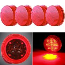 "cciyu (Pack of 4pcs) 2.5"" Round Truck Trailer Clearance Marker Red Led Round Side Marker Light Flush Mount"