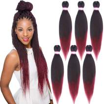 Pre Stretched Braiding Hair 20 Inch 8 Packs Yaki Synthetic Professional Braiding Hair Extensions for Crochet Braids Twist Hair (#1B/Burgundy)