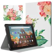 Dadanism Case Fits All-New Amazon Fire HD 10 Tablet Case (7th and 9th Generations, 2017 and 2019 Releases), Lightweight Stand Cover with Auto Wake/Sleep - Blooming Bouquet