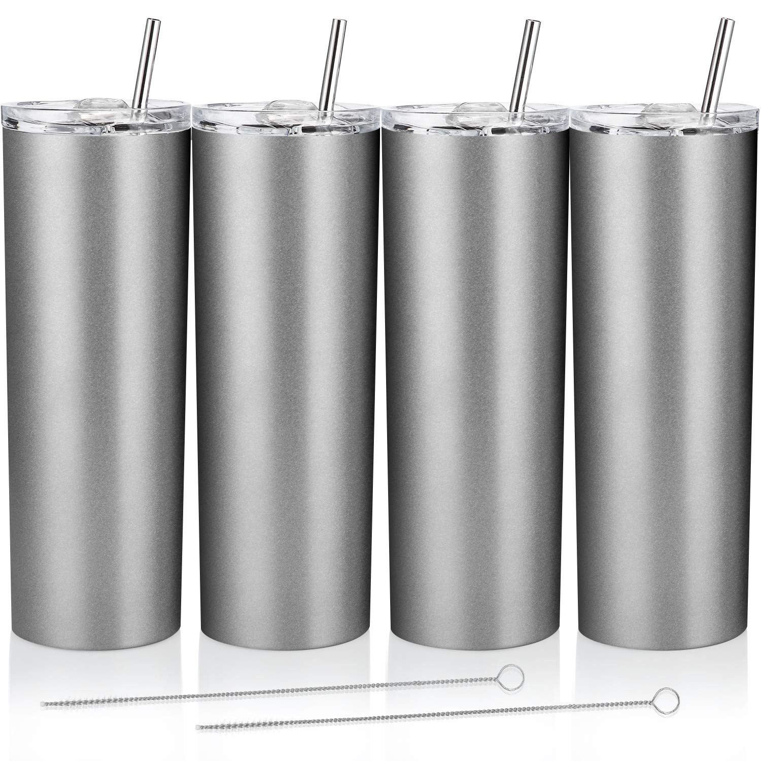 4 Pack Classic Tumbler Stainless Steel Double-Insulated Water Tumbler Cup with Lid and Straw Vacuum Travel Mug Gift with Cleaning Brush (Matte Silver, 20 oz)