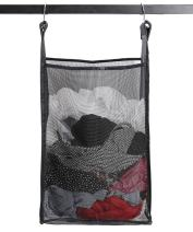 ALYER Upgraded Hanging Collapsible Mesh Laundry Hamper,Large Capacity Door-Hanging Laundry Basket and Durable Bathroom Storage Bag with Two Hangers,Black