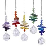 H&D Chakra Suncatcher Rainbow Maker 20mm Chandelier Crystal Prism Ball Octagon Bead Rainbow Color Set,Pack of 5