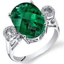 Peora 14K White Gold Oval Created Emerald Diamond Ring (5.25 cttw)