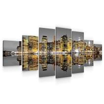 Startonight Huge Canvas Wall Art City in The Mirror of Water I - Large Framed Set of 7 40 x 95 Inches