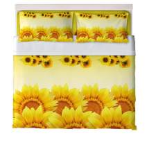 ayigu Sunflower Sheet Set Full 4 Piece Deep Pockets Eco Friendly Wrinkle Free Bed Sheets Set 1 Flat Sheet 1 Fitted Sheet 2 Pillowcase Hotel Yellow Flowers Bedding Set for Kids Boys Girls Silky Soft