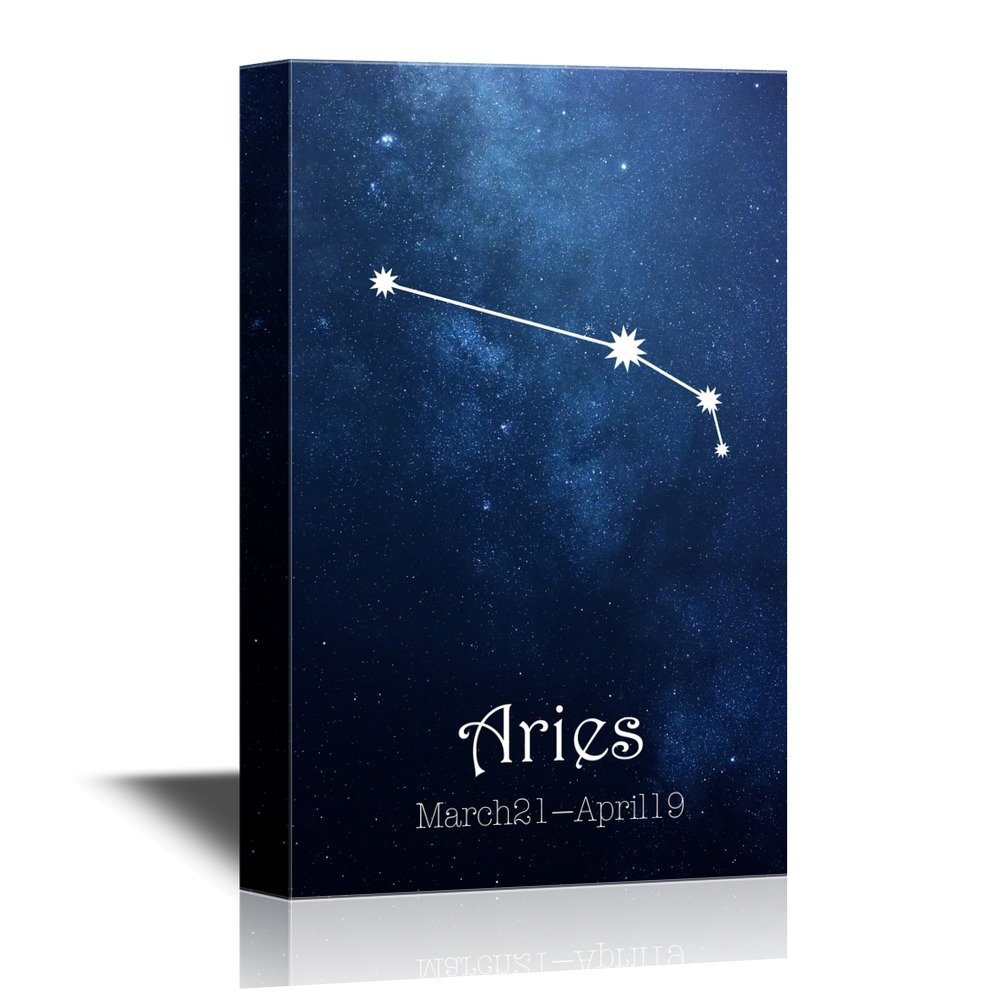 wall26 - 12 Zodiac Signs Constellation Canvas Wall Art - Aries - Gallery Wrap Modern Home Decor   Ready to Hang - 12x18 inches