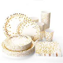 Halulu Gold Dot Disposable Paper Plates Set 200pc - Birthday Anniversary Retirement Wedding Supplies Tableware with 50 Dinner Plates, 50 Dessert Plates, 50 Paper Cups,50 Luncheon Napkins