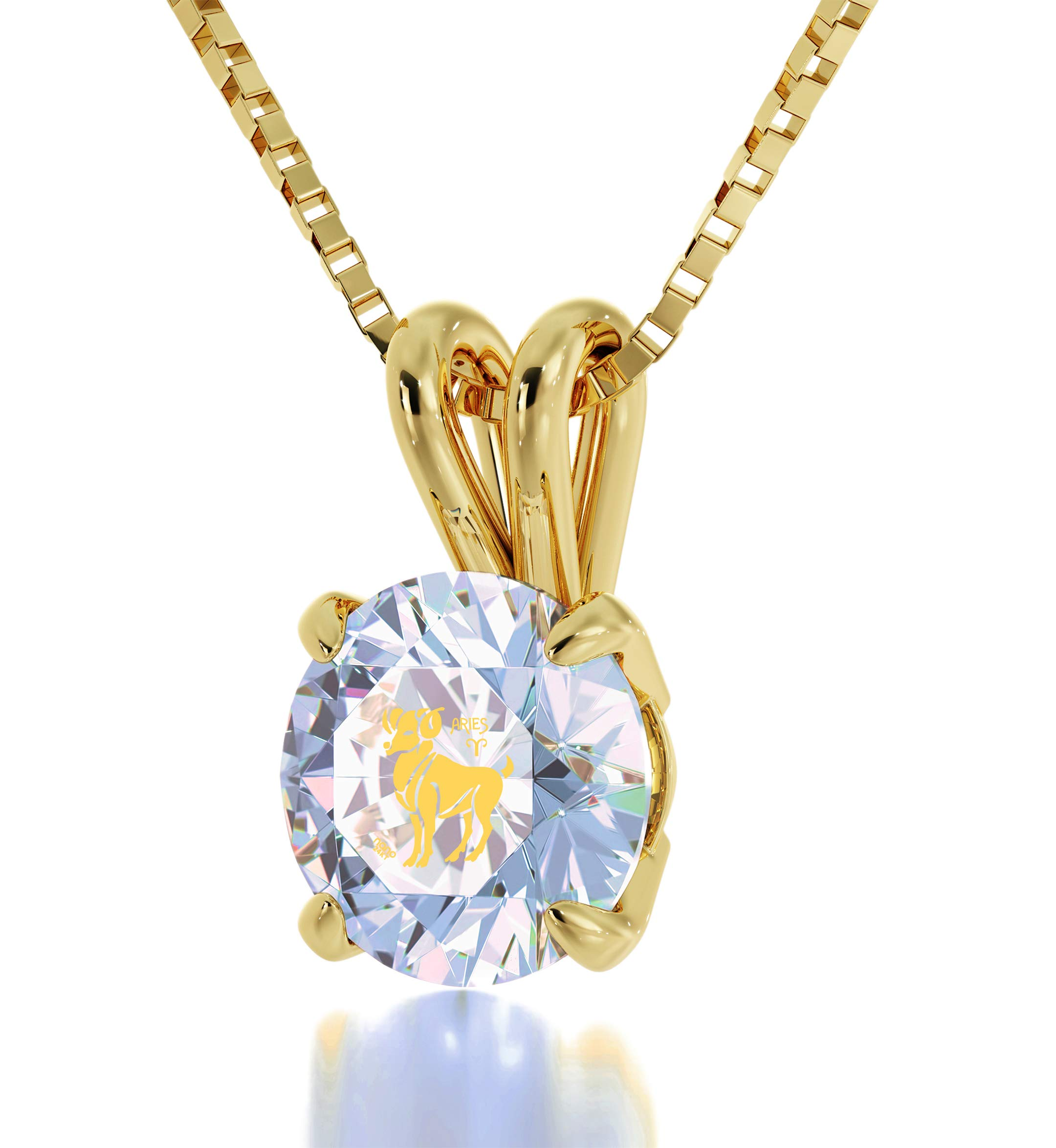 """Gold Plated Aries Necklace Zodiac Pendant for Birthdays 21st March to 19th April 24k Gold Inscribed with Star Sign and Symbol on Solitaire Set Swarovski Crystal Stone, 18"""" Gold Filled Chain"""