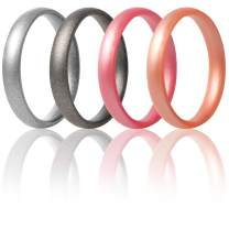 ThunderFit Super Thin Stackable Silicone Rings Wedding Bands - 16 Rings / 12 Rings / 8 Rings / 4 Rings / 1 Ring - 3mm Width - 1.5mm Thickness