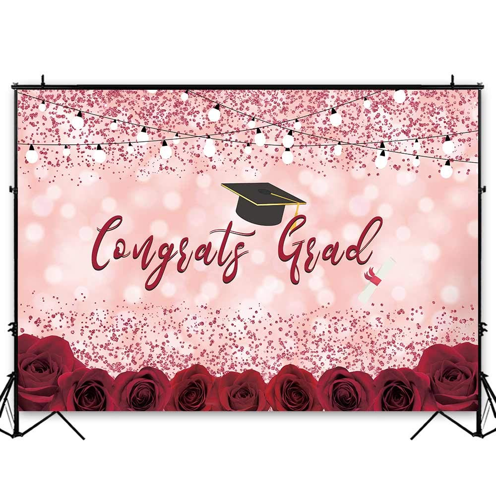 Funnytree 7x5ft Graduation Party Backdrop Class of 2020 Pink Bokeh Spots Floral Photography Background Congrats Grad Prom Roses Flower Decorations Photo Studio Booth Props Cake Table Banner