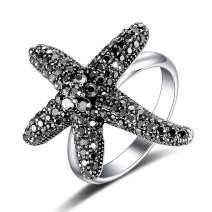 Mytys Vintage Fashion Flower Rings Seastar Seafish Ring Black Marcasite Stones Paved Statement Rings for Women Girls