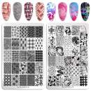 NICOLE DIARY 2Pcs XL Nail Stamping Plates Texture Flower Images Big Templates Rectangle Stainless Steel Nail Stencil Manicure Tools