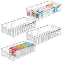 """mDesign Extra Long Household Metal Drawer Organizer Tray, Storage Organizer Bin Basket, Built-In Handles - for Kitchen Cabinets, Drawers, Pantry, Closet, Bedroom, Bathroom - 8"""" Wide, 4 Pack - Chrome"""