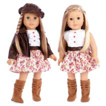 DreamWorld Collections - Urban Explorer - Clothes Fits 18 Inch American Girl Doll - Brown Motorcycle Jacket with Paperboy Hat, Dress and Boots - (Doll not Included)