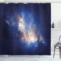"Ambesonne Galaxy Shower Curtain, Nebula in Cloudy Sky View of Far Stars in Night Sky Milky Way Universe Print, Cloth Fabric Bathroom Decor Set with Hooks, 75"" Long, Navy Blue"
