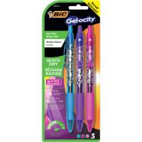 BIC Gel-ocity Quick Dry Special Edition Fashion Gel Pen, Medium Point (0.7mm), Assorted Fashion Colors, 3-Count