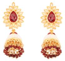 Touchstone Indian Bollywood White/red Long Designer Grand Jewelry jhumki Earrings in Gold Tone for Women