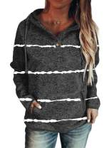 Dearlove Womens Button Collar Printed Hooded Sweatshirt Long Sleeve Pullover Drawstring Hoodies with Pocket