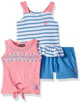 U.S. Polo Assn. Baby Girl's 3 Piece Tunic Tank, Jersey Tank, and Pull-On Short Set