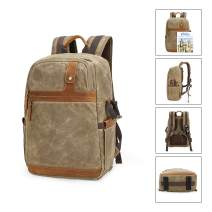 Outdoor Camera/Travel Backpack DSLR Camera Case Camera/Lens/Tripod/Laptop Bag (Khaki)