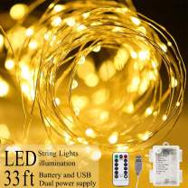 Areskey Fairy String Lights, 33Ft 100 LED Christmas Lights, USB Battery Operated with Remote Control, Decoration Rope Light for Indoor Outdoor Bedroom Garden, Waterproof Starry Wire Light,Warm White