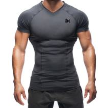 BROKIG Mens Gym Muscle Shirts Workout Compression Tee Bodybuilding Base Layers