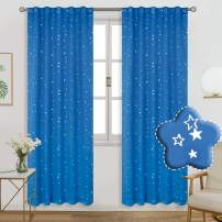 BGment Rod Pocket and Back Tab Blackout Curtains for Kids Bedroom - Sparkly Star Printed Thermal Insulated Room Darkening Curtain for Nursery, 42 x 84 Inch, 2 Panels, Blue