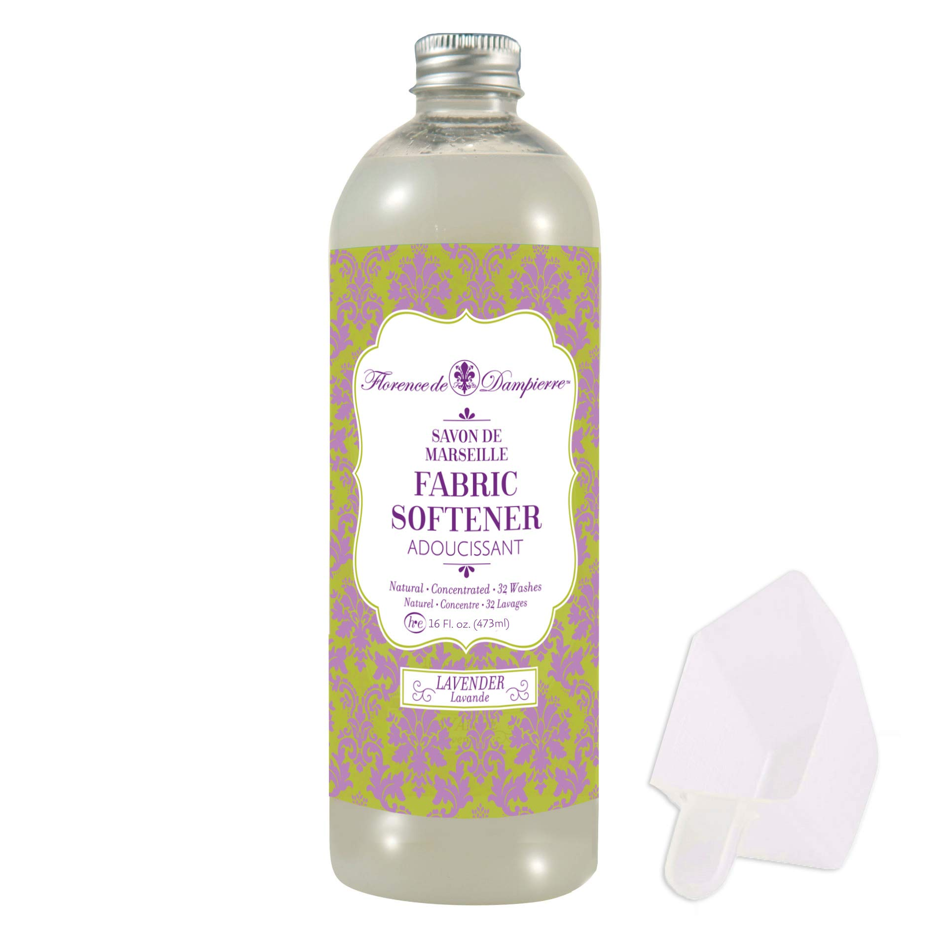 Florence de Dampierre Organic All-Natural Savon de Marseille Soap, Concentrated Liquid Fabric Softener, 16 oz. - Lavender