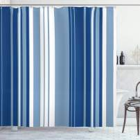 "Ambesonne Harbour Stripe Shower Curtain, Retro Shades of Stripe Abstract Vintage Design, Cloth Fabric Bathroom Decor Set with Hooks, 75"" Long, Navy White"