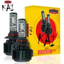 KAI AKARUI LED Headlight Bulbs Conversion Kit - Single Beam - CSP LED Chip - 7000 lumens - 6K Cool White - Official Warranty - Pair (9006)