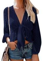 Women's Solid Open Front Tie Knot Crop Top Long Sleeve Deep V Neck Ruffle Chiffon Short Blouse Shirt