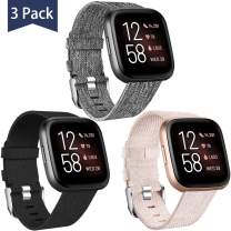 Maledan Compatible with Fitbit Versa/Versa Lite/Fitbit Versa 2 Bands for Men Women Small, 3 Pack Woven Fabric Strap Wristband for Fitbit Versa Smart Watch Family, Black/Beige/Charcoal