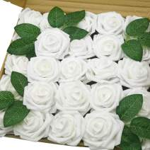 J-Rijzen Jing-Rise Artificial Flowers 50pcs Real Touch White Fake Flowers with Stem for DIY Wedding Bouquet Baby Shower Home Decorations (White)