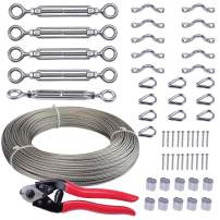 "Muzata 5 Pack Heavy Duty Stainless Steel Cable Railing Kits Set with 1/8"" 165Feet Wire Rope Cable and Cable Cutter, for Wood Posts, DIY Balustrade Kit CK01,Series CA1 CD1 CS1 CT1 WP1"