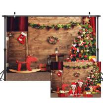 Dudaacvt 7x5ft Christmas Photography Backdrop Christmas Theme Backdrops for Photoshoot Wood Photo Background Red Wooden Horse Christmas Tree Home Party Decoration Props D056