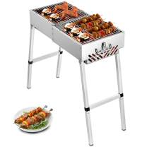 Happybuy Folded Portable Charcoal BBQ Grill 32x12 inches Outdoor Barbecue Charcoal Stainless Steel Kebab Grill Folding Grill Portable Grill Perfect for Camping
