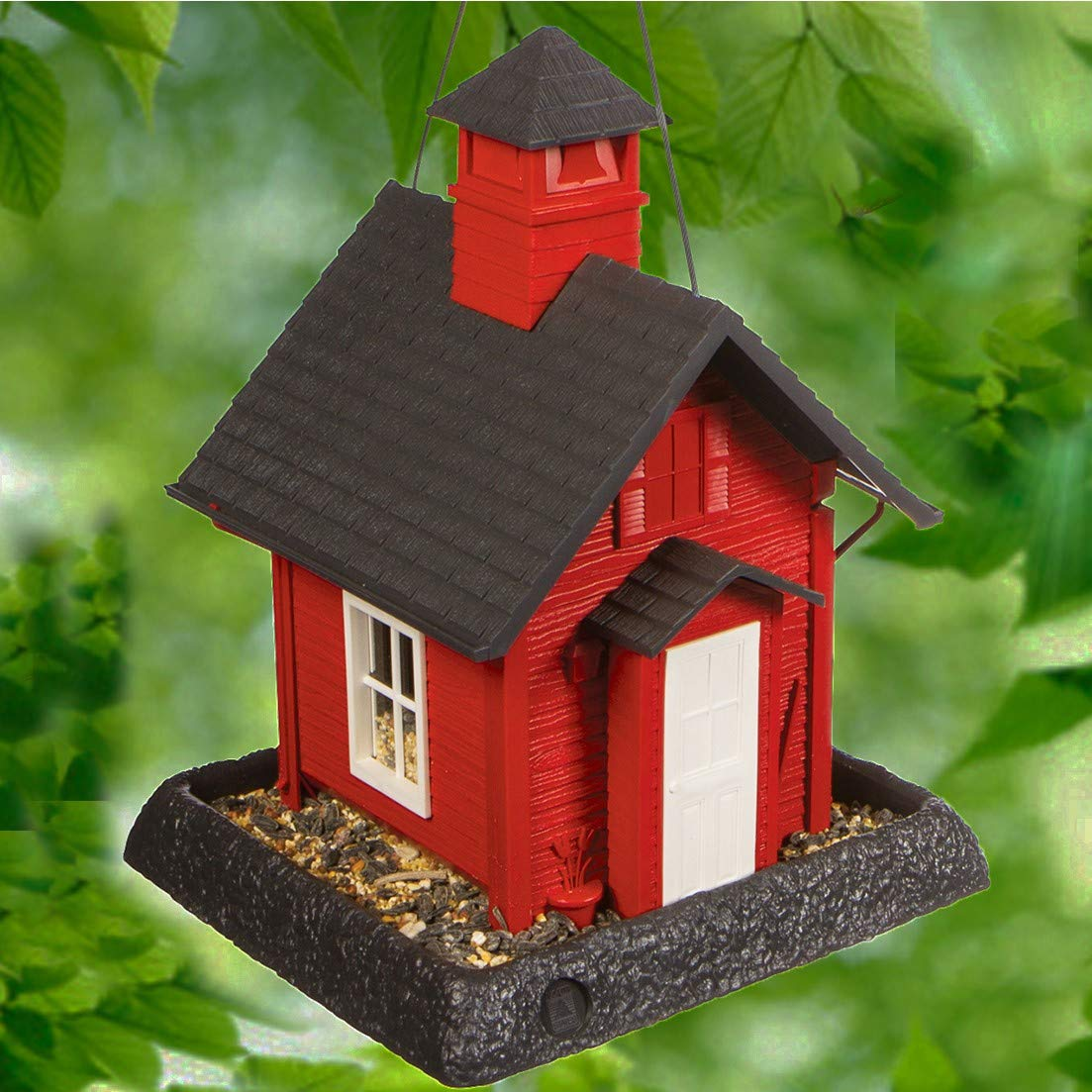 North States Village Collection School House Birdfeeder: Easy Fill and Clean. Squirrel Proof Hanging Cable included, or Pole Mount (pole sold separately). Large, 5 pound Seed Capacity (9.5 x 10.25 x 13.25, Red)