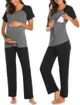 Ekouaer Women Long Raglan Sleeve Maternity Pajama Set Baseball Nursing Breastfeeding Sleepwear Hospital PJ Sets