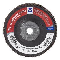 "Mercer Industries 330H040 Aluminum Oxide Flap Disc, High Density, Type 29, 4-1/2"" x 5/8""-11, Grit 40, 10 Pack"