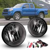 Driving Fog Lights for 2004-2006 Toyota Solara 2007-2012 Toyota Tundra 2005-2011 Toyota Tacoma with Universal Wiring Harness and Switch H10 12V 42W Halogen Bulbs Fog Lamps Smoke Lens 81211-AA030