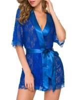 RIKILIO Women's Lace Kimono Robe Chemise Babydoll Lingerie Sheer Mesh Nightgown S-XXL