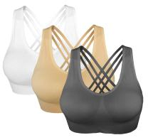 Cabales Women's Racerback Cross Straps Sports Bra with Removable Pads 3 Pack or 1 Pack for Chose