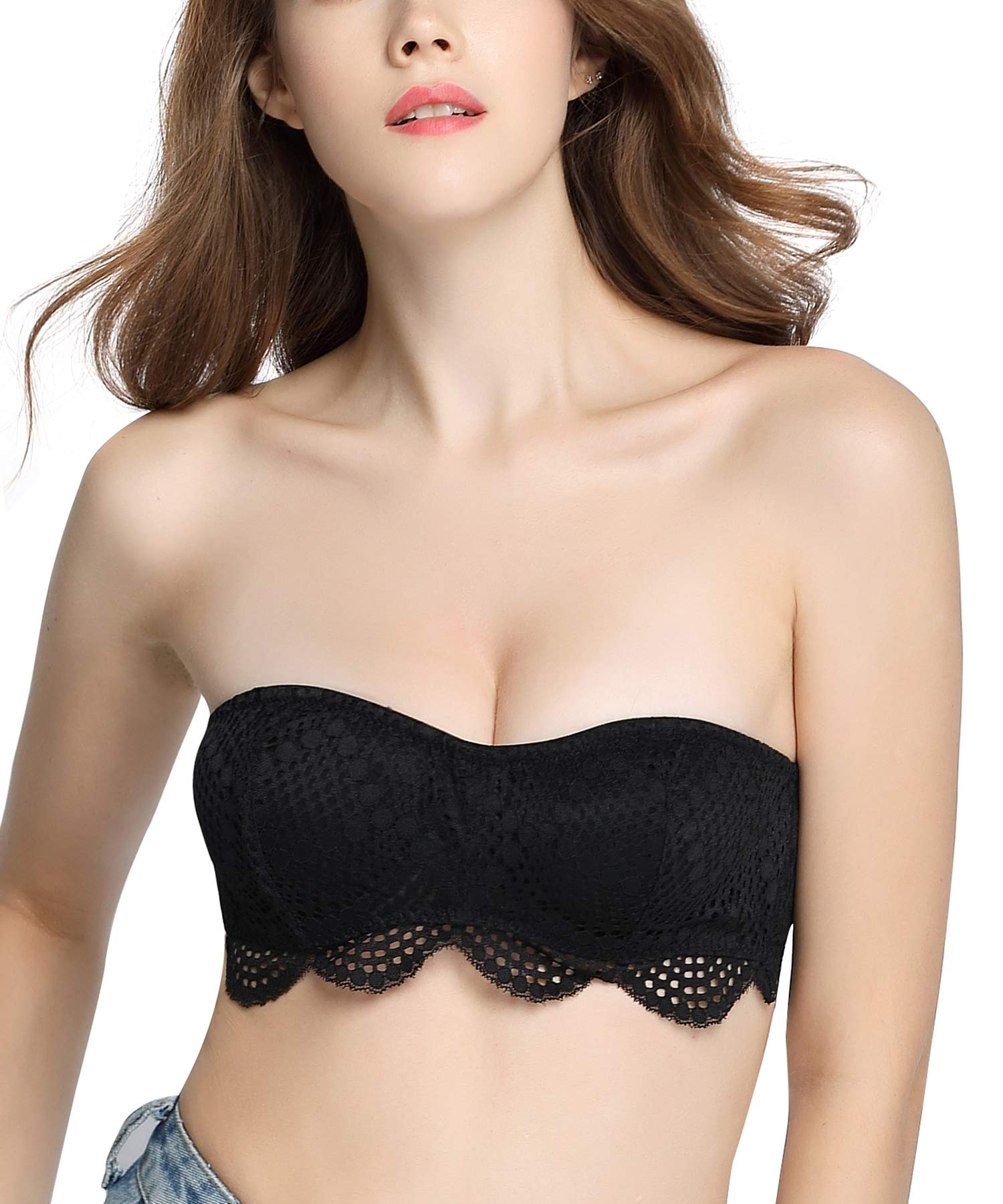 DotVol Women's Non Padded Strappy Lace Tube Top Bandeau Underwire Strapless Bra