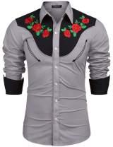 COOFANDY Men's Embroidered Rose Design Western Shirt Long Sleeve Button Down Shirt