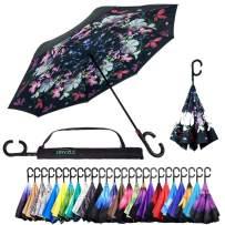 Reverse Inverted Inside Out Umbrella - Upside Down UV Protection Unique Windproof Brella That Open Better Than Most Umbrellas, Reversible Folding Double Layer