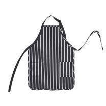DALIX Apron Commercial Restaurant Home Bib Spun Poly Cotton Kitchen Aprons (2 Pockets) in Pinstripe Black/White