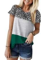 Zecilbo Women's Leopard Striped Crewneck Short Sleeve Tunics Shirts Loose Casual Blouses Tops S-XXL